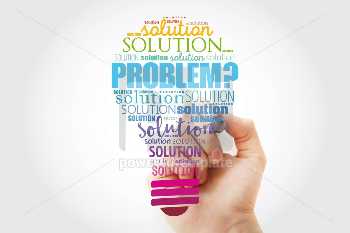 Problem and solution light bulb word cloud collage business con, 13513, Business — PoweredTemplate.com