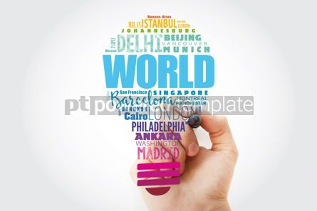 Business: WORLD light bulb word cloud concept made with words cities names #13516