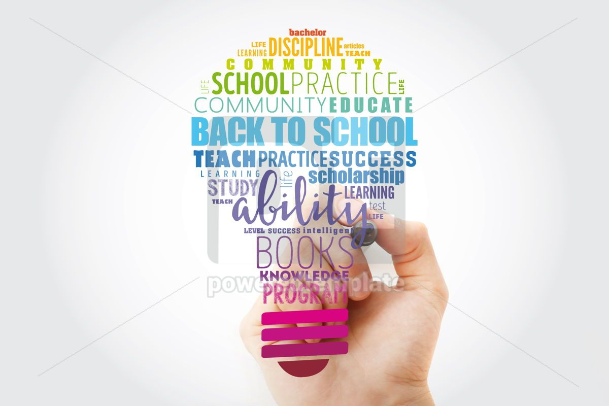 Back to School light bulb word cloud collage education concept, 13517, Business — PoweredTemplate.com