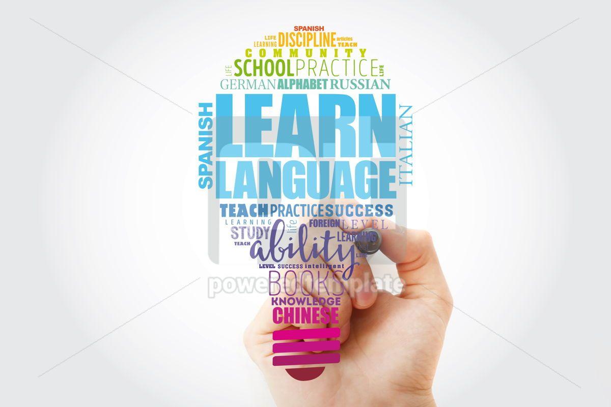 Learn Language light bulb word cloud collage education concept, 13520, Business — PoweredTemplate.com