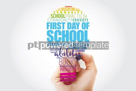 Business: First day of school light bulb word cloud collage education con #13522