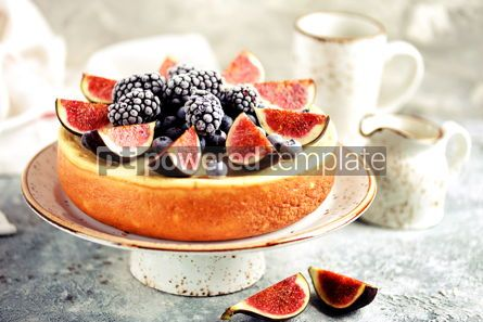 Food & Drink: Homemade delicious cheese cake with fresh figs and frozen blueberries #13536