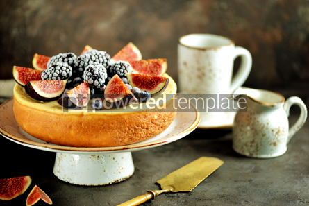 Food & Drink: Homemade delicious cheese cake with fresh figs and frozen blueberries #13537