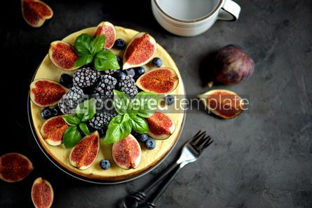 Food & Drink: Homemade delicious cheese cake with fresh figs and frozen blueberries #13539