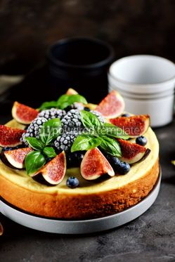 Food & Drink: Homemade delicious cheese cake with fresh figs and frozen blueberries #13541