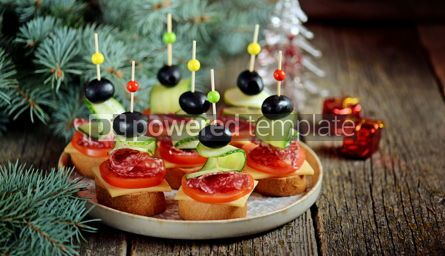 Food & Drink: Christmas canape on skewer from bread baguette with toast cheese and sausage #13543