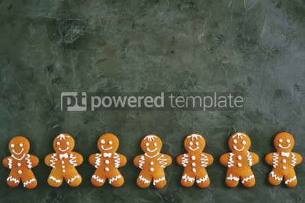 Food & Drink: Christmas gingerbread cookie man decorated with icing Top view copy space #13547