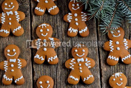 Food & Drink: Christmas gingerbread cookie man decorated with icing #13548