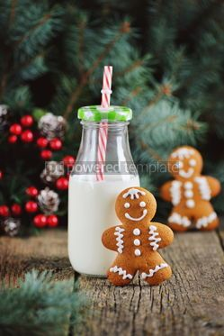 Food & Drink: Christmas gingerbread cookie man decorated with icing #13549
