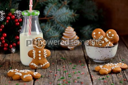 Food & Drink: Christmas gingerbread cookie man decorated with icing #13550