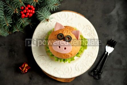 Food & Drink: Sandwich with ham cheese and lettuce in the form of cute pig Children's breakfast #13608