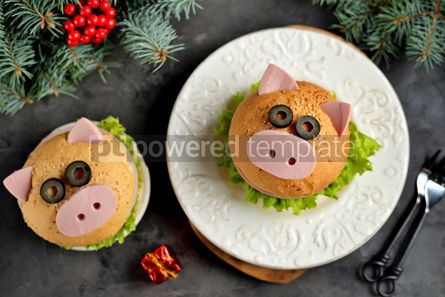 Food & Drink: Sandwich with ham cheese and lettuce in the form of cute pig Children's breakfast #13610