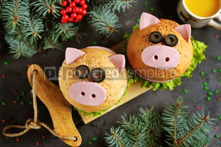 Food & Drink: Sandwich with ham cheese and lettuce in the form of cute pig Children's breakfast #13611