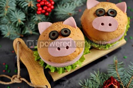 Food & Drink: Sandwich with ham cheese and lettuce in the form of cute pig Children's breakfast #13612