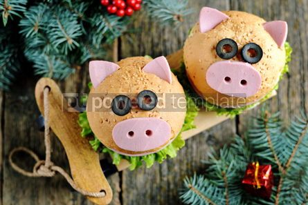 Food & Drink: Sandwich with ham cheese and lettuce in the form of cute pig Children's breakfast #13613