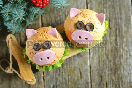 Food & Drink: Sandwich with ham cheese and lettuce in the form of cute pig Children's breakfast #13614