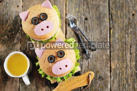 Food & Drink: Sandwich with ham cheese and lettuce in the form of cute pig Children's breakfast #13615