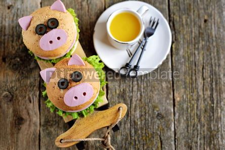 Food & Drink: Sandwich with ham cheese and lettuce in the form of cute pig Children's breakfast #13616