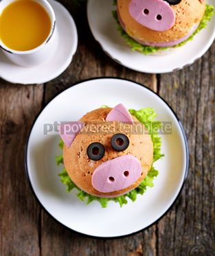 Food & Drink: Sandwich with ham cheese and lettuce in the form of cute pig Children's breakfast #13619