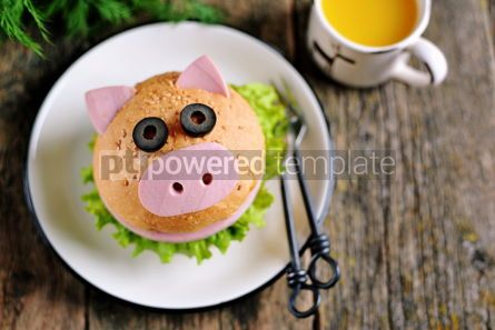 Food & Drink: Sandwich with ham cheese and lettuce in the form of cute pig Children's breakfast #13621