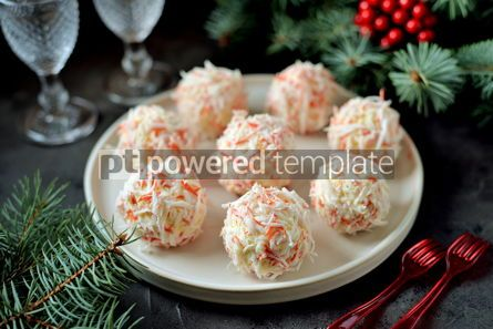 Food & Drink: Cheese balls in crab shavings is a traditional Russian snack for Christmas and New Year's party #13624