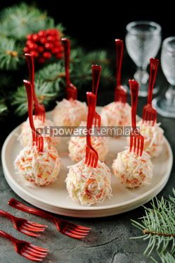 Food & Drink: Cheese balls in crab shavings is a traditional Russian snack for Christmas and New Year's party #13628