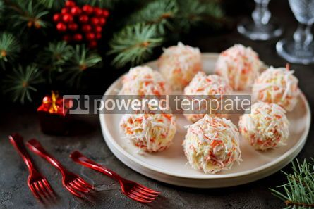 Food & Drink: Cheese balls in crab shavings is a traditional Russian snack for Christmas and New Year's party #13630