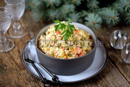 Food & Drink: Traditional Russian salad Olivier on an old wooden background Russian kitchen Rustic style #13637