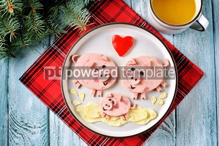 Food & Drink: Cute family of pigs food art idea for children's breakfast Top view #13639