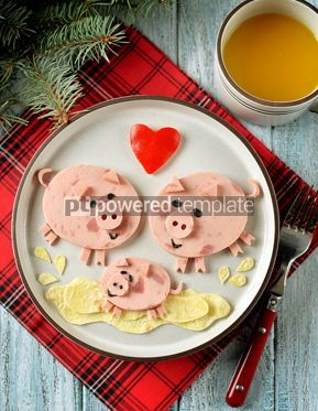 Food & Drink: Cute family of pigs food art idea for children's breakfast Top view #13640