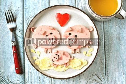 Food & Drink: Cute family of pigs food art idea for children's breakfast Top view #13642