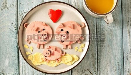 Food & Drink: Cute family of pigs food art idea for children's breakfast Top view #13643