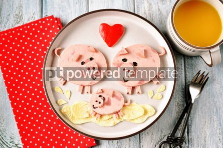 Food & Drink: Cute family of pigs food art idea for children's breakfast Top view #13645