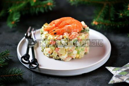 "Food & Drink: Traditional Russian salad ""Olivier"" with shrimps and avocado Christmas background #13658"