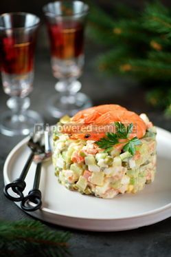 "Food & Drink: Traditional Russian salad ""Olivier"" with shrimps and avocado Christmas background #13660"
