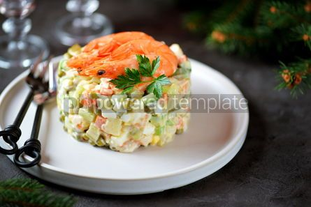 "Food & Drink: Traditional Russian salad ""Olivier"" with shrimps and avocado Christmas background #13661"