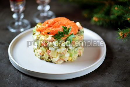 "Food & Drink: Traditional Russian salad ""Olivier"" with shrimps and avocado Christmas background #13662"