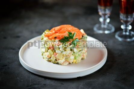 "Food & Drink: Traditional Russian salad ""Olivier"" with shrimps and avocado Christmas background #13663"