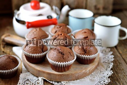Food & Drink: Homemade chocolate muffins Homemade baking Rustik style wooden background #13685