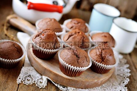 Food & Drink: Homemade chocolate muffins Homemade baking Rustik style wooden background #13687