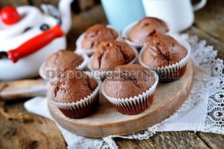 Food & Drink: Homemade chocolate muffins Homemade baking Rustik style wooden background #13688