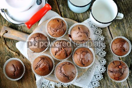 Food & Drink: Homemade chocolate muffins Homemade baking Rustik style wooden background #13689