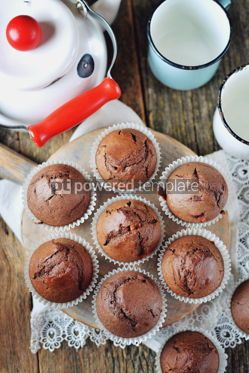 Food & Drink: Homemade chocolate muffins Homemade baking Rustik style wooden background #13690