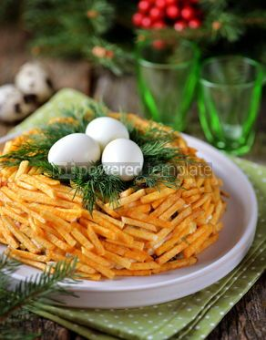 "Food & Drink: Russian traditional festive salad ""Grouse's Nest"" #13701"