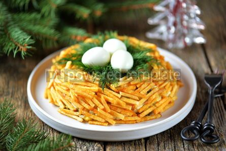 "Food & Drink: Russian traditional festive salad ""Grouse's Nest"" #13703"