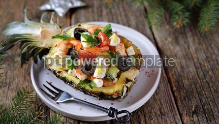 Food & Drink: Festive salad of shrimp kiwi olives soft cheese quail eggs cherry tomato in pineapple plates C #13717