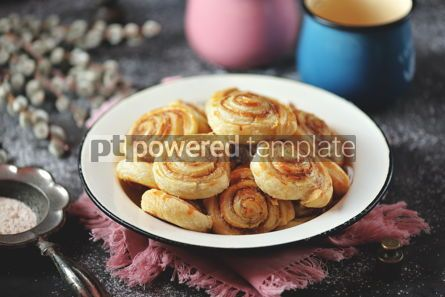 Food & Drink: Delicious homemade puff pastry cookies with sugar and cinnamon #13723