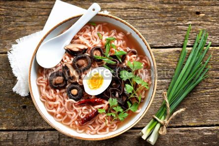 Food & Drink: Asian ramen noodle soup with mushrooms Vegetarian healthy food #13737