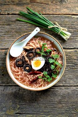 Food & Drink: Asian ramen noodle soup with mushrooms Vegetarian healthy food #13738
