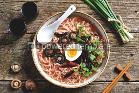 Food & Drink: Asian ramen noodle soup with mushrooms Vegetarian healthy food #13739